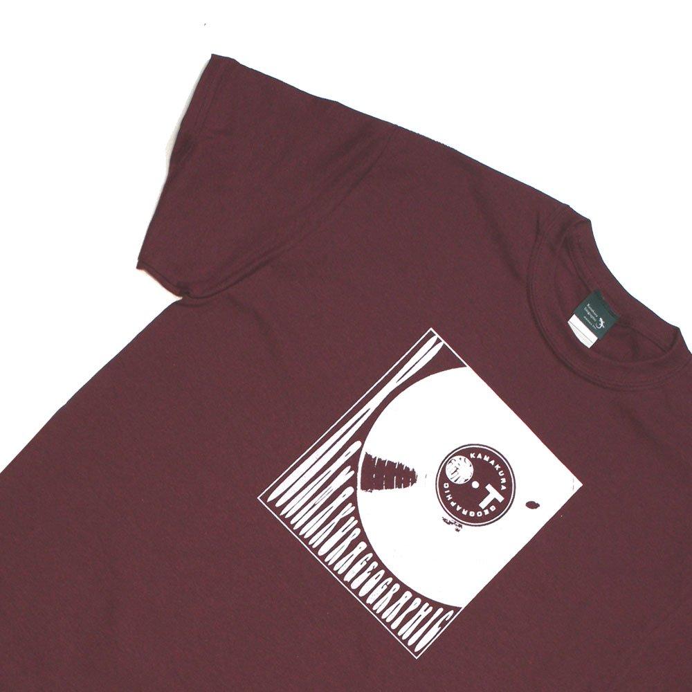 【鎌Tシャツ / レコード(マルーン)】<br>  アムマックスのオリジナルTシャツ