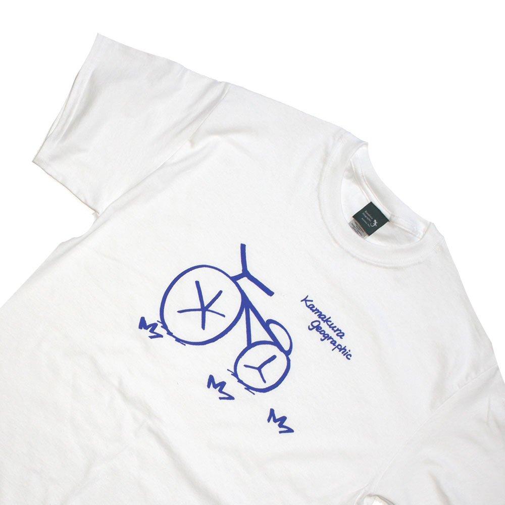 【鎌Tシャツ / 自転車(ネイビー)】<br>  アムマックスの手描きオリジナルTシャツ