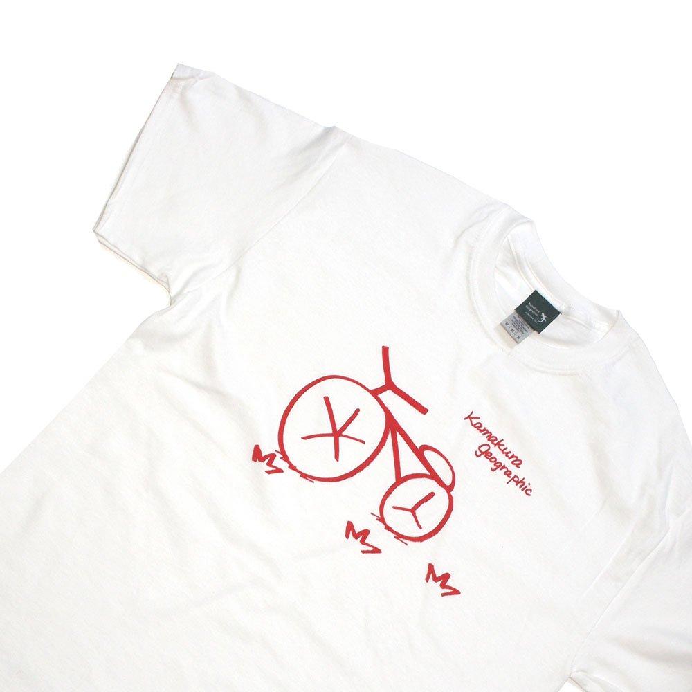 【鎌Tシャツ / 自転車(レッド)】<br>  アムマックスの手描きオリジナルTシャツ