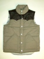 トゥルーレリジョンアウトレット|TRUE RELIGION STYLE:MJU9S82 COLOR:KHAKI PUFFER VEST W/LEATHER YOKE