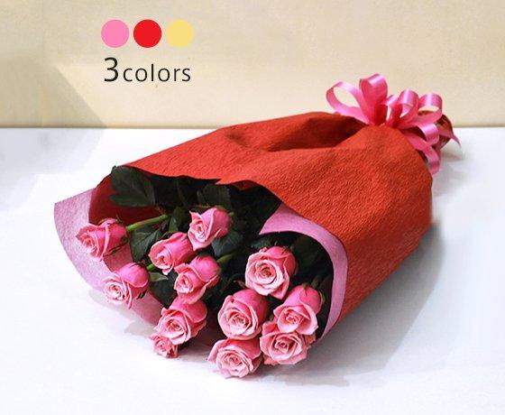 【送料無料】バラの花束 12本 /赤いバラ/ピンクのバラ/白いバラ/記念日