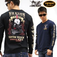 VANSON×CROWS×WORST 武装戦線 コラボ 長袖Tシャツ ロンT デスラビット crv-728<img class='new_mark_img2' src='//img.shop-pro.jp/img/new/icons5.gif' style='border:none;display:inline;margin:0px;padding:0px;width:auto;' />