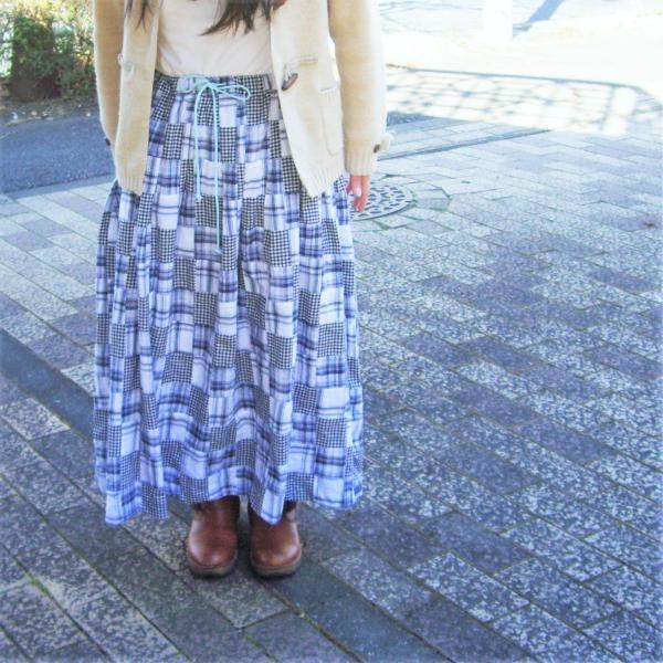 MOJO*ギャザースカート*ネイビーパッチワーク