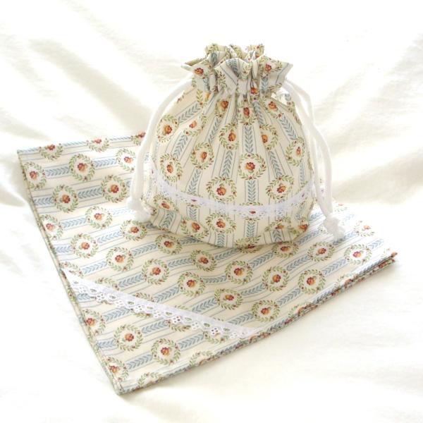 ランチ2点セット*お弁当包み&コップ巾着(花ストライプ)