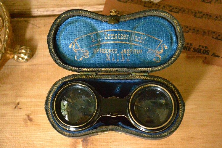 送料無料!アンティーク オペラグラス/双眼鏡 革張り ケース付きです。