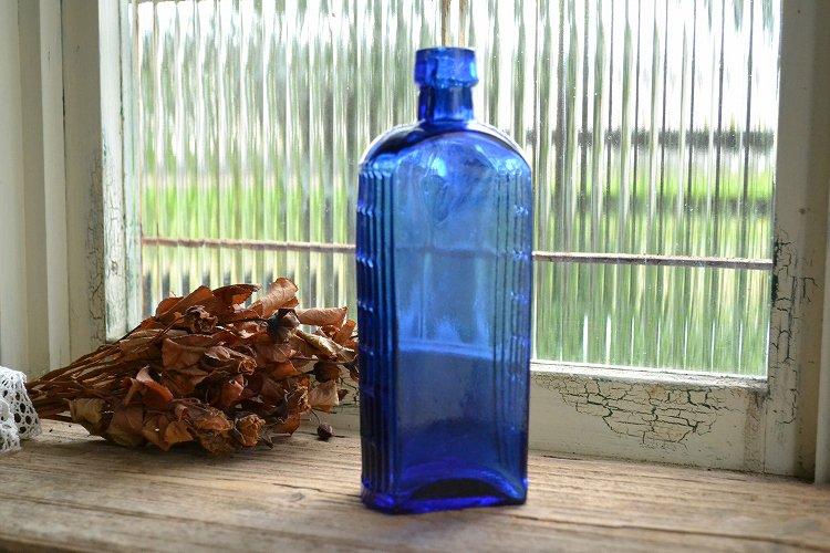 コバルトブルーのアンティーク薬瓶/ポイズンボトル/8oz~10ozサイズ