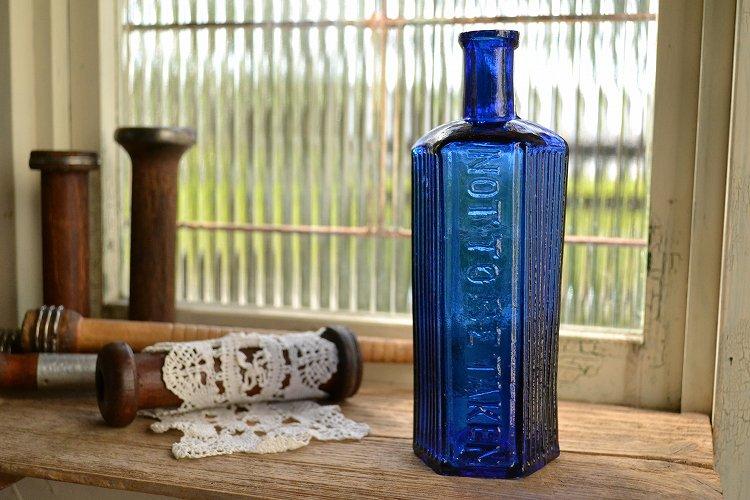 綺麗なコバルトブルーの薬瓶 ポイズンボトル/大型/NOT TO BE TAKEN/10oz/お店づくり、お部屋づくりにピッ…
