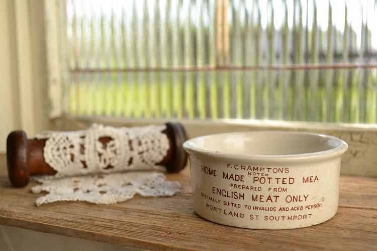 アンティーク ミートポット 瓶詰肉の容器/茶色文字/陶器ジャー/イギリス/1900年代初期