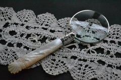 送料無料!アンティークシルバー 英国 マザーオブパール(MOP)とスターリングシルバー(925 純銀)のルーペ/シェフィールド 1897年/虫眼鏡