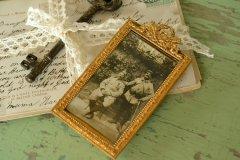 アンティーク フォトフレーム リボンの装飾 1900年代初期頃 フランス