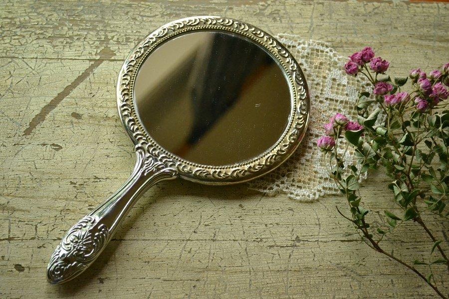 送料無料!豪華な装飾の手鏡/ミラー 銀メッキ/シルバープレート ビンテージ アメリカ