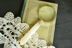 送料無料!スターリング シルバーとマザーオブパール(MOP)のルーペ 英国 アンティークシルバー(925 純銀)/シェフィールド 1904年/虫眼鏡