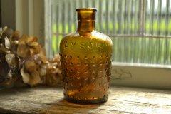 アンティークボトル リゾール/LYSOL エンボスロゴ 琥珀色