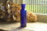 コバルトブルーのアンティークミニボトル エンボスロゴ INECTO