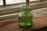 大きな気泡がいっぱい!可愛いアンティーク インクボトル/グリーン