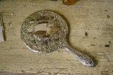 ビンテージ アメリカの豪華な装飾の手鏡(ミラー) 銀メッキ/シルバープレート