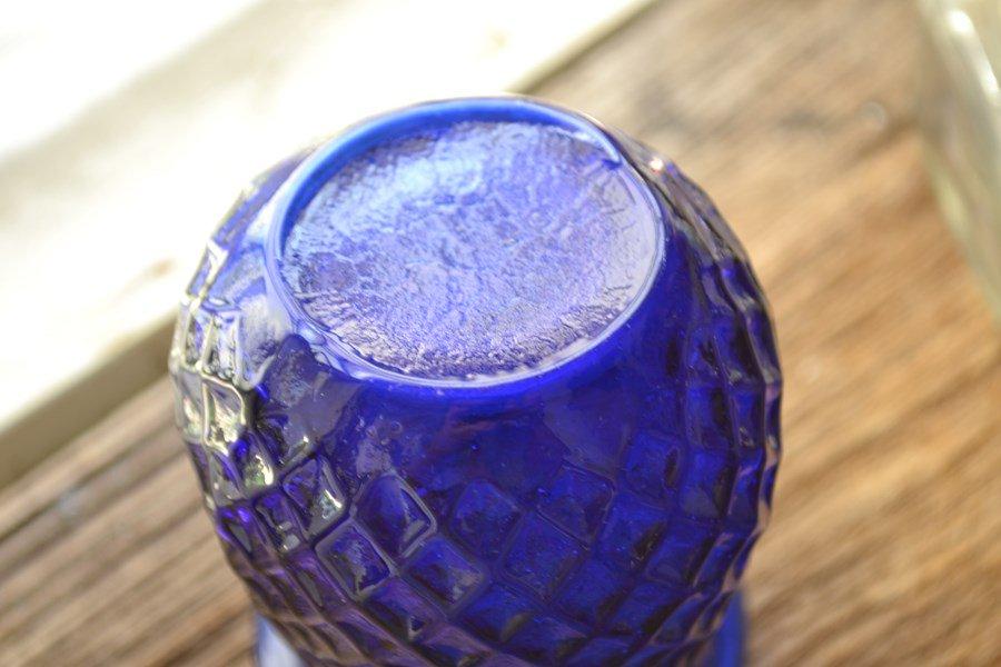 アンティークボトル イルミネーション グラス コバルトブルーです。