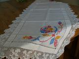 Vintage White Embroidered Runner Wide Crochet Edging(テーブル掛け)
