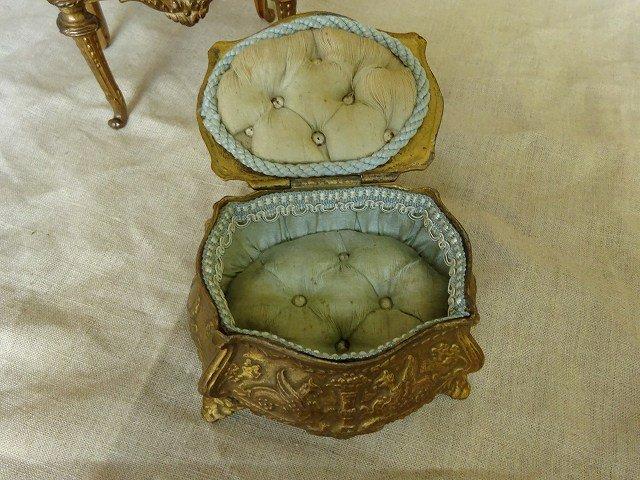 アンティーク ジュエリーケース A/ジュエリーボックス 宝石箱 アクセサリーケース 小物入れ 真鍮製とガラス蓋 送料無料です。