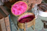 アンティーク フレンチ ジュエリーボックス(宝石箱) ピンクのシルクパッド