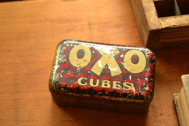 OXO CUBES TIN オクソ キューブ缶 開閉式フタ / イギリス / tin缶
