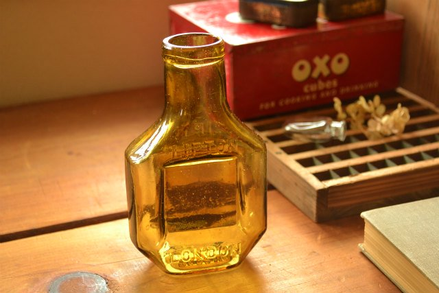 大きなリプトンのアンティークガラス瓶 / イギリス / ロンドン