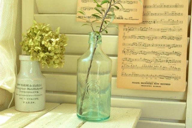 大きなアンティーク ガラス ボトル / ナイト / イギリス