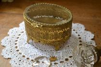 アンティーク ジュエリー ボックス(宝石箱) 真鍮製 アメリカ製