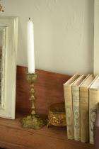 豪華な装飾のアンティークキャンドルスタンド/キャンドルホルダー/銅製/1800年代後期