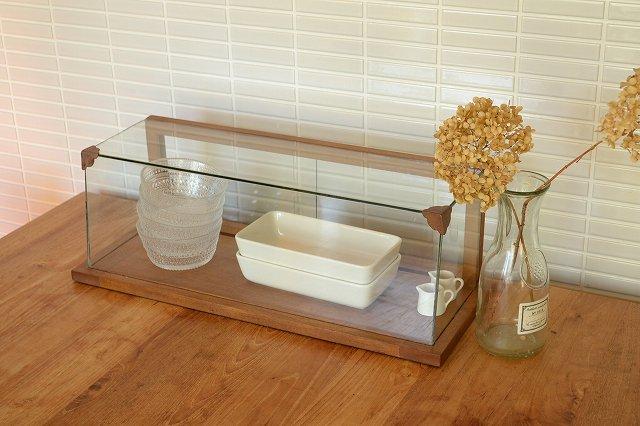 木とガラスのショーケース WOODガラスショーケースL WBX-9001 コレクションケース ガラスケース ディスプレイ 木製