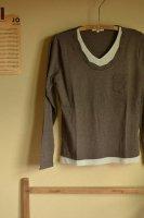 衿ねじりタンクレイヤード風Tシャツ- ダークブラウン