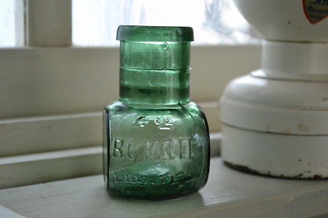 レア!再入荷!グリーンのボブリル アンティーク瓶 4oz/BOVRIL/エンボス入り