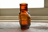 琥珀色のアンティークガラス瓶/イギリス/JU-VIS/4oz