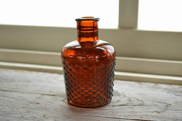 琥珀色が綺麗なアンティーク薬瓶、リゾール/LYSOL