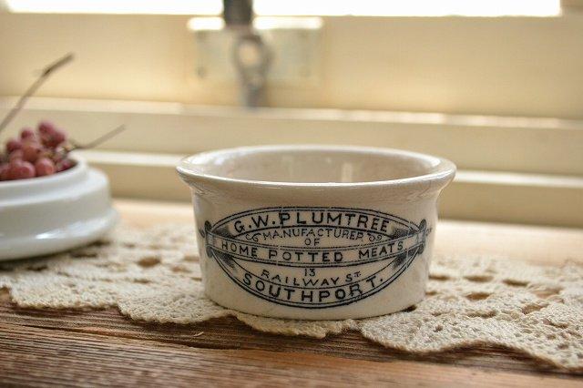 小型のアンティーク ミートポット 瓶詰肉の容器/陶器ジャー/イギリス/1900年代初期