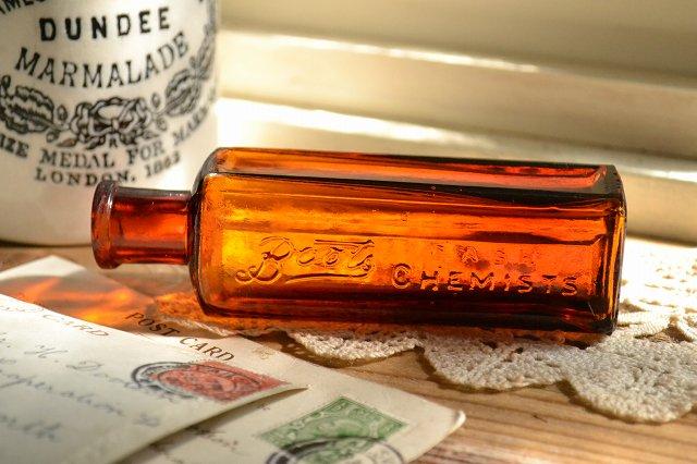 英国の薬局Bootsの薬瓶/茶色/お店づくり、お部屋づくりにピッタリ/インテリア/ディスプレイ