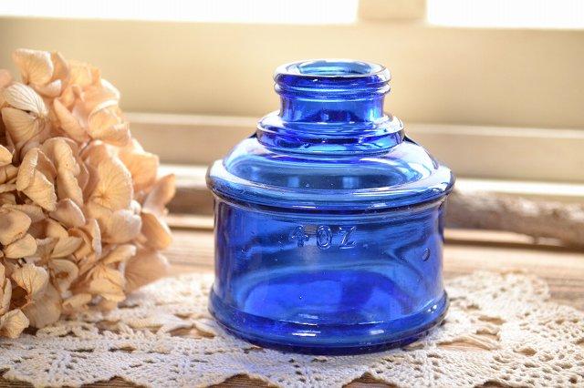 大きなコバルトブルー ボトルのインクボトル