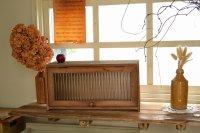 ラスティ・アップドアキャビネット パタパタ扉 波ガラス キャビネット CO-FG-21 ウッド アンティーク調 木製 棚 家具 収納