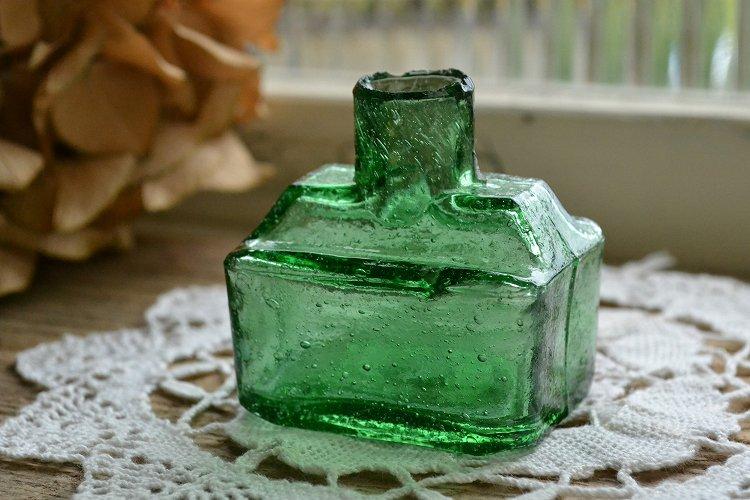 レア!グリーンの舟型インク瓶/インクボトル