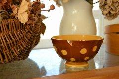 フランス ビンテージ カフェオレボウル 水玉 キャラメルブラウン サルグミンヌ(Sarreguemines)/Digoin