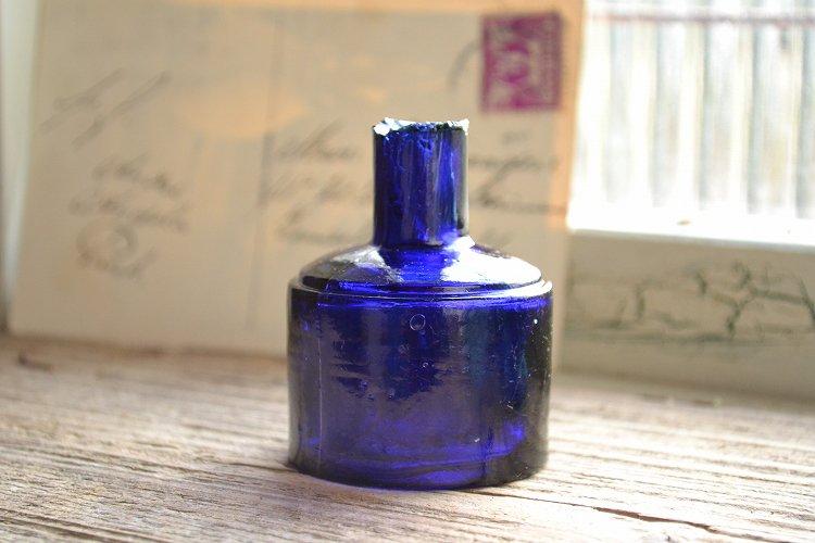 レア!コバルトブルーのシリンダー型インク瓶