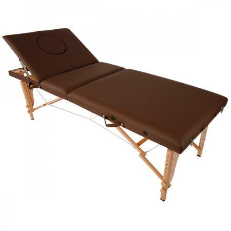 『3年保証!!!』折りたたみ木製リクライニングベッド(有孔)チョコレート