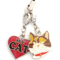 CALICO KITTY CAT Head Heart Double Dangle Cell Phone Charm 三毛猫 & ハート エナメ...