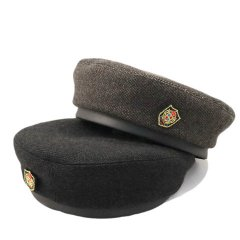 Tweed Leather Band Beret