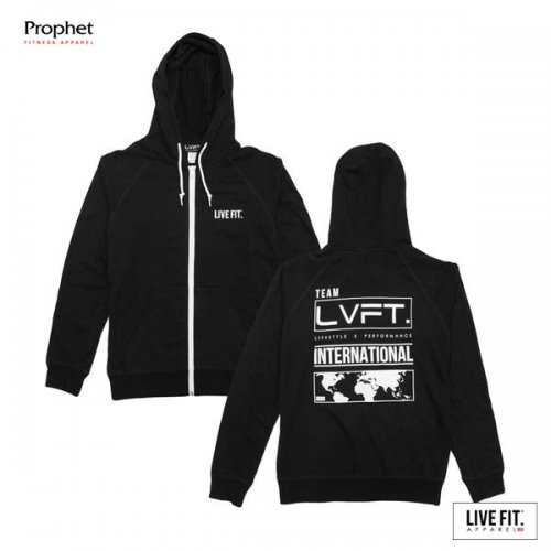 【即お届け】【LIVE FIT】【LVFT】International Zip Up Hoodie(Black)<img class='new_mark_img2' src='//img.shop-pro.jp/img/new/icons7.gif' style='border:none;display:inline;margin:0px;padding:0px;width:auto;' />