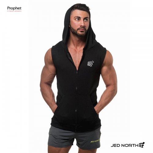 【即お届け】【JED NORTH】SLEEVELESS ZIP HOODIE(BLACK)<img class='new_mark_img2' src='//img.shop-pro.jp/img/new/icons7.gif' style='border:none;display:inline;margin:0px;padding:0px;width:auto;' />
