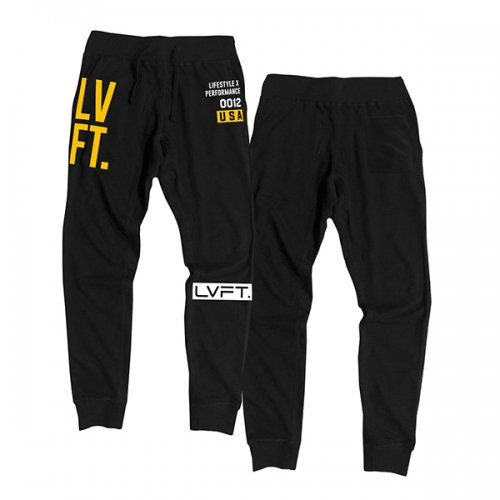 【即お届け】【LVFT】【LIVE FIT】Stacked Joggers(Black/Gold )<img class='new_mark_img2' src='https://img.shop-pro.jp/img/new/icons7.gif' style='border:none;display:inline;margin:0px;padding:0px;width:auto;' />
