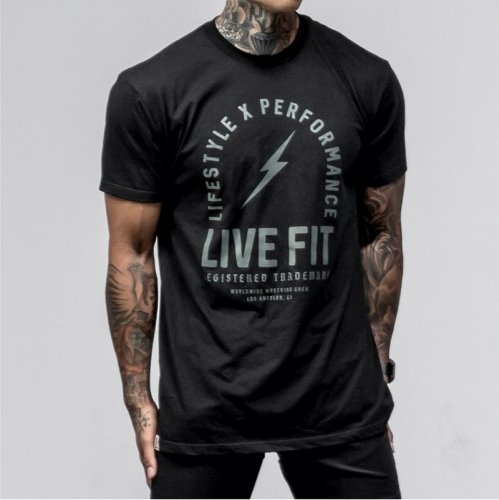 【即お届け】【LIVE FIT】【LVFT】REGISTER TRADEMARK TEE  (BLACK / GREEN)<img class='new_mark_img2' src='https://img.shop-pro.jp/img/new/icons7.gif' style='border:none;display:inline;margin:0px;padding:0px;width:auto;' />