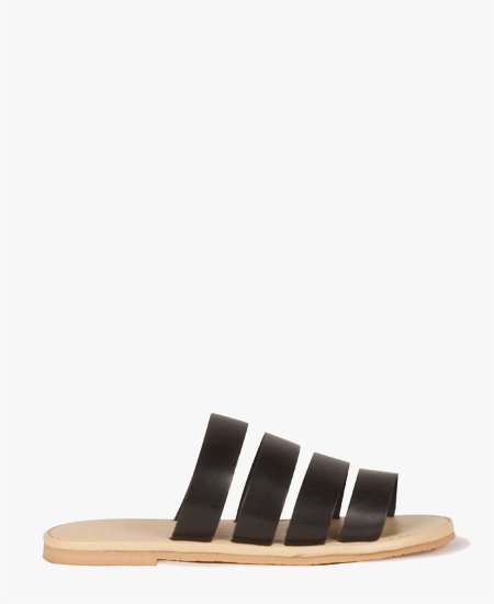<img class='new_mark_img1' src='//img.shop-pro.jp/img/new/icons2.gif' style='border:none;display:inline;margin:0px;padding:0px;width:auto;' />Deux Souliers - Stripe Sandal #2 Black フラットレザーサンダル (ブラック)