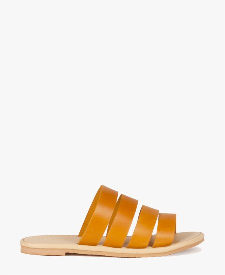 <img class='new_mark_img1' src='//img.shop-pro.jp/img/new/icons2.gif' style='border:none;display:inline;margin:0px;padding:0px;width:auto;' />Deux Souliers - Stripe Sandal #2 Ocra フラットレザーサンダル (オークラ)
